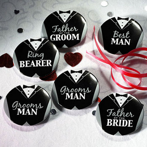 Groom Bridal Party Buttons 8ct Image #1