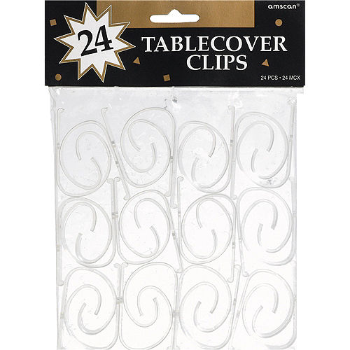 CLEAR Table Cover Clips 24ct Image #1