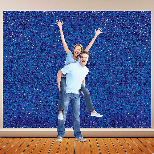 Royal Blue Metallic Floral Sheeting Image #1