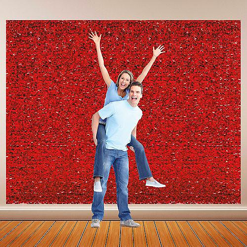 Red Metallic Floral Sheeting Image #1