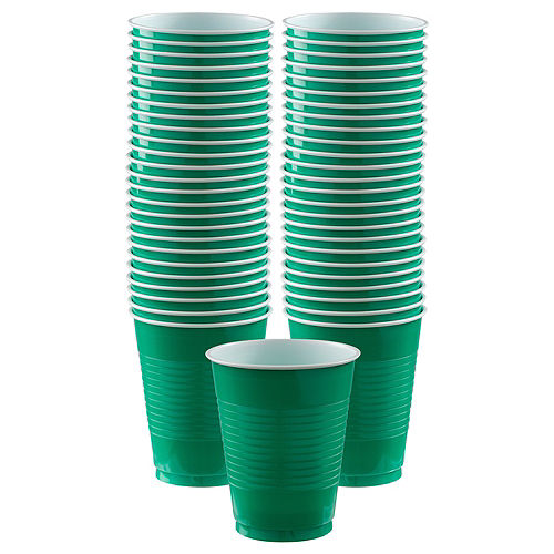 Festive Green Plastic Cups, 16oz, 50ct Image #1