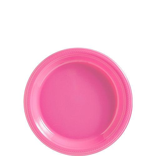 Bright Pink Plastic Dessert Plates, 7in, 50ct Image #1