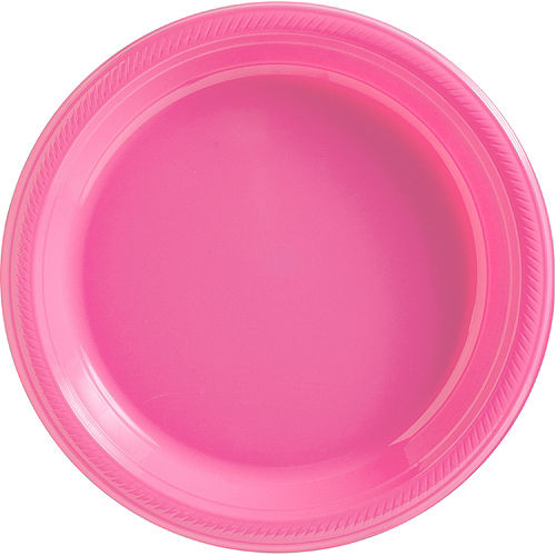 Bright Pink Plastic Dinner Plates, 10.25in, 50ct Image #1