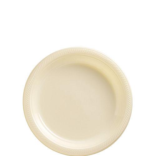 Vanilla Cream Plastic Dessert Plates, 7in, 50ct Image #1