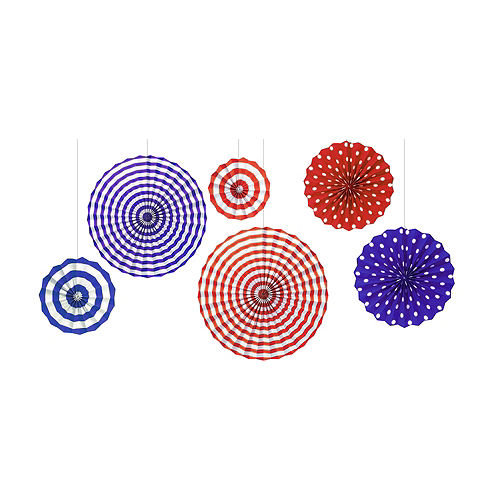 Patriotic Red, White & Blue Paper Fan Decorations 6ct Image #1