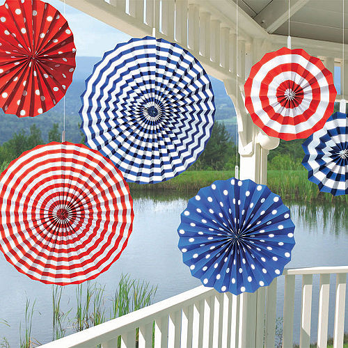 Patriotic Red, White & Blue Paper Fan Decorations 6ct Image #2