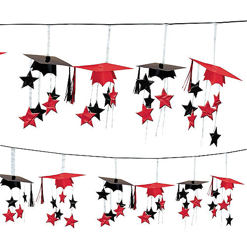 Red 3D Grad Cap Graduation Garland Image #1