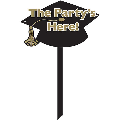Black & Gold Grad Cap Graduation Yard Sign Image #1