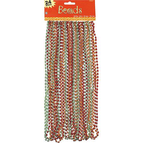 Orange, Green & Red Bead Necklaces 24ct Image #2