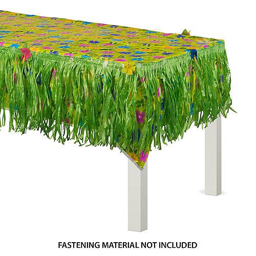 Summer Flower Plastic Table Cover & Green Faux Grass Fringe Table Skirt Set Image #1
