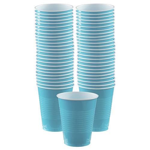 Caribbean Blue Plastic Cups, 16oz, 50ct Image #1