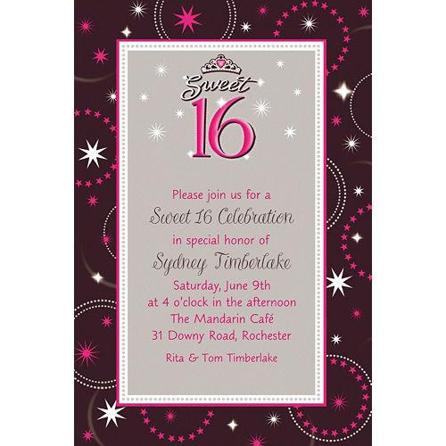 Custom Sparkle Sweet 16 Birthday Invitations Image #1