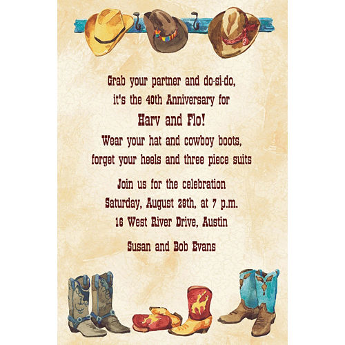 Custom Boots All in a Row Western Invitations Image #1