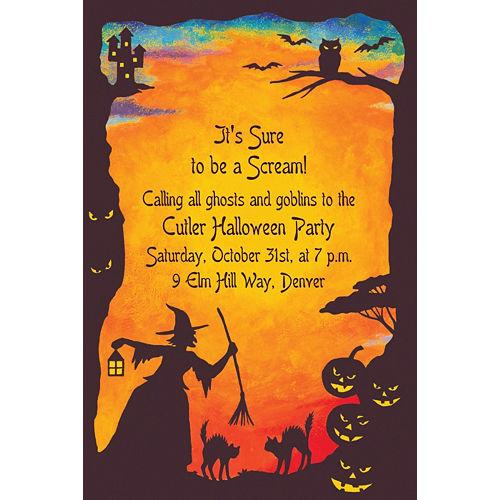 Custom Witchy Halloween Motif Invitations Image #1