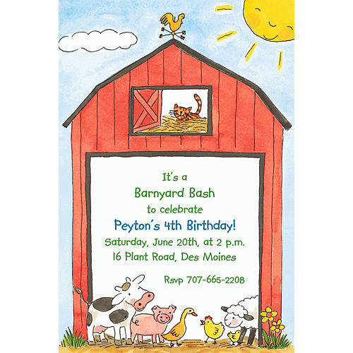 Custom Barnyard Animals Invitations Image #1