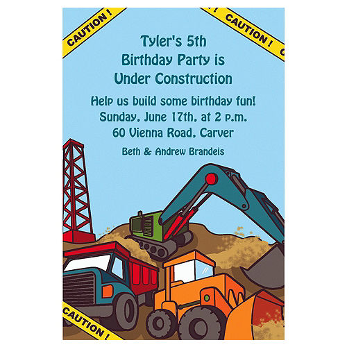 Custom Construction Site Invitations Image #1