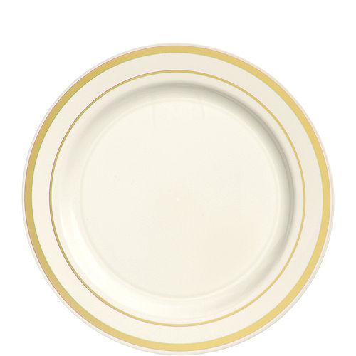 Cream Gold-Trimmed Premium Plastic Lunch Plates 20ct Image #1