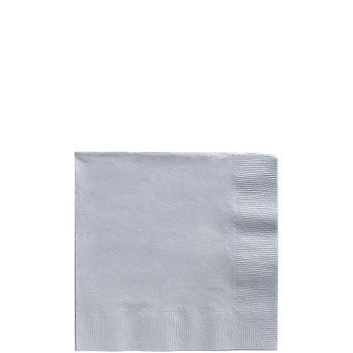 Silver Paper Beverage Napkins, 5in, 40ct Image #1