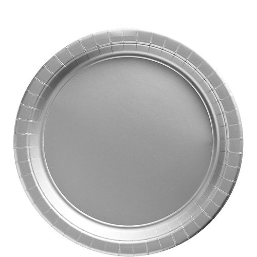 Silver Paper Lunch Plates, 8.5in, 20ct Image #1