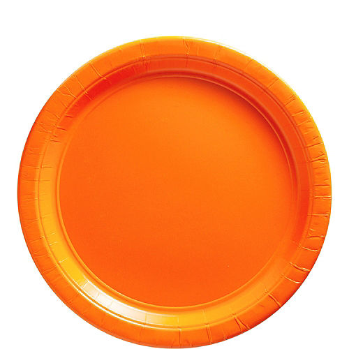 Orange Paper Lunch Plates, 8.5in, 50ct Image #1