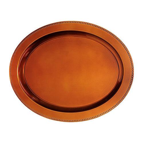 Elegant Fall Orange Oval Plastic Platter Image #1