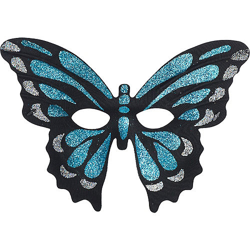 Glitter Blue Butterfly Mask Image #1