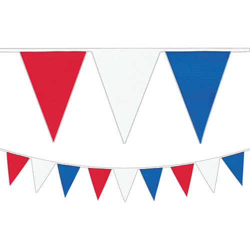 Red, White & Blue Pennant Banner 30ft Image #1