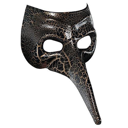 Black & Gold Crackle Long Nose Mask Image #1