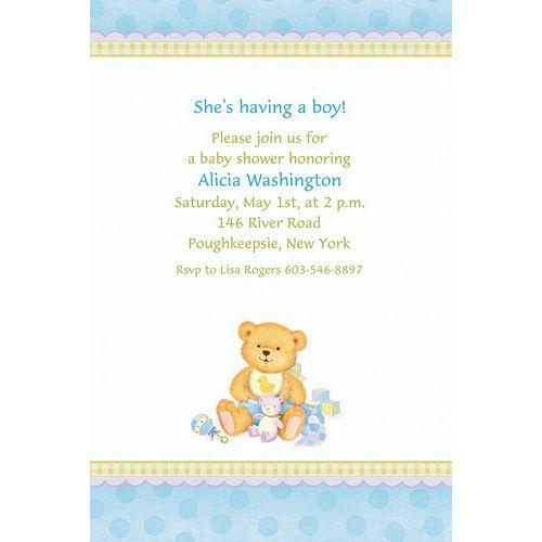 Custom Precious Bear Blue Baby Shower Invitations Image #1