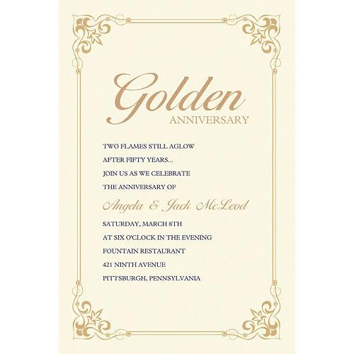 Custom Flourish Corners Gold Invitations Image #1