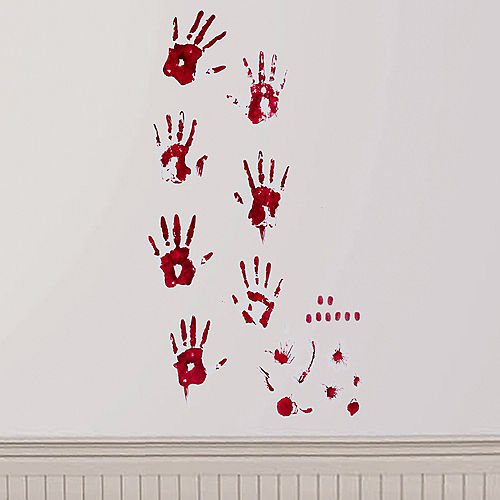 Bloody Hand Print Wall Decals 19pc Image #2