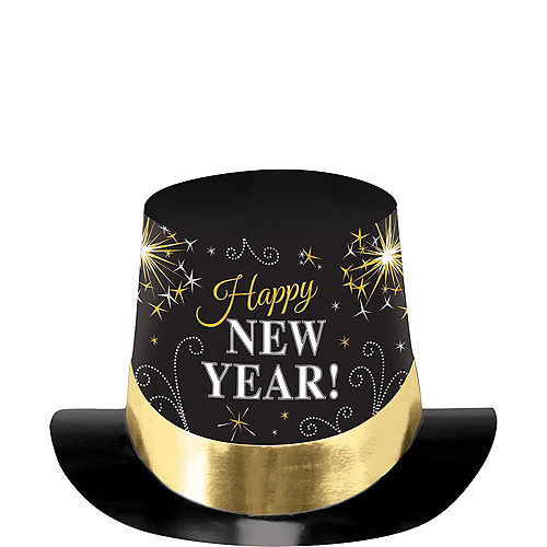 Black, Gold & Silver New Year's Top Hat Image #1