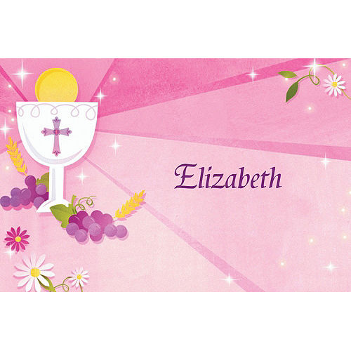 Custom Pink First Communion Thank You Notes Image #1