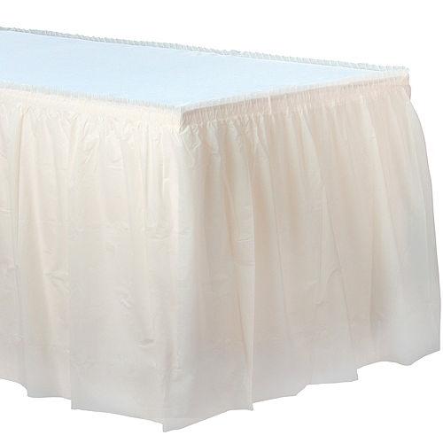 Vanilla Cream Plastic Table Skirt Image #1