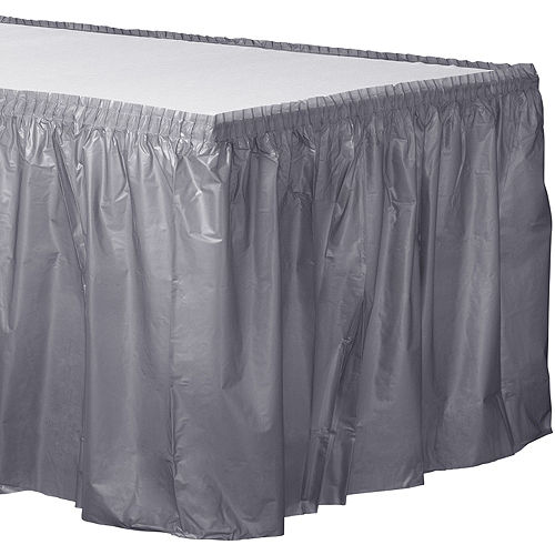 Silver Plastic Table Skirt Image #1