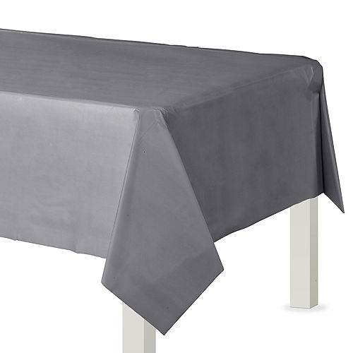 Silver Plastic Table Cover Image #1