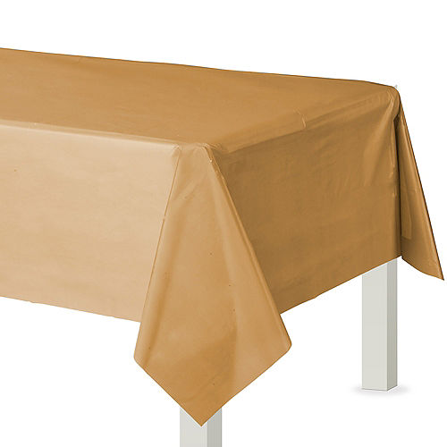 Gold Plastic Table Cover Image #1