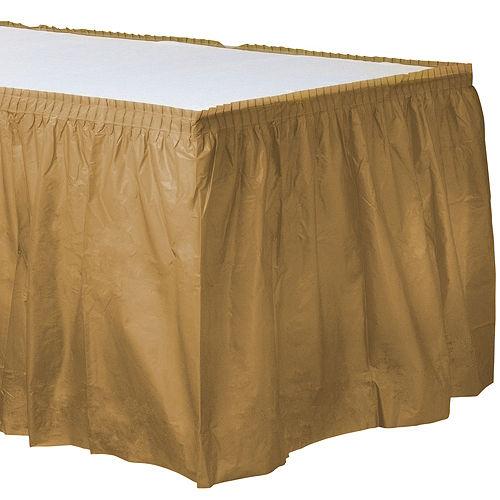 Gold Plastic Table Skirt Image #1