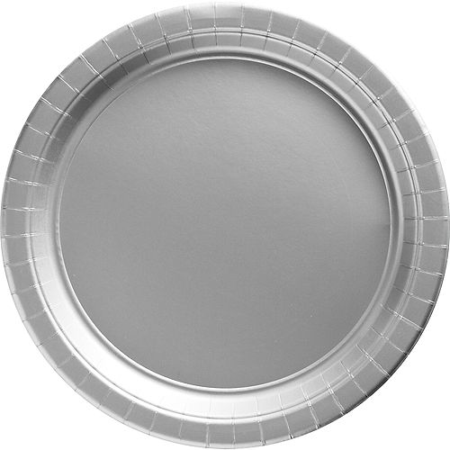 Silver Paper Dinner Plates, 10in, 20ct Image #1