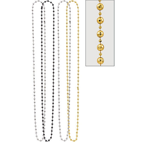 Black, Gold & Silver Disco Ball Bead Necklaces 4ct Image #1