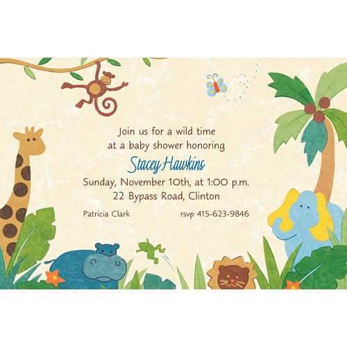 Custom Cute Jungle Animals Baby Shower Invitations Image #1