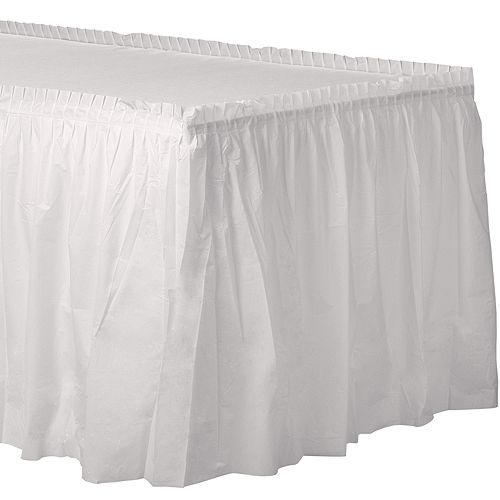 White Plastic Table Skirt Image #1