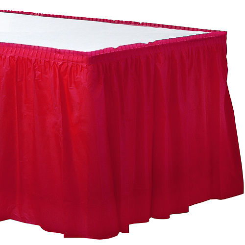 Red Plastic Table Skirt Image #1