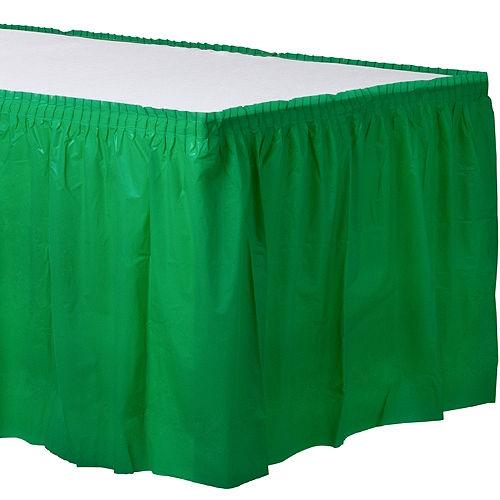 Festive Green Plastic Table Skirt Image #1
