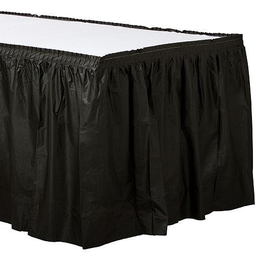 Black Plastic Table Skirt Image #1