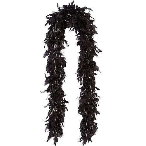 Black with Silver Tinsel Feather Boa 72in Image #1