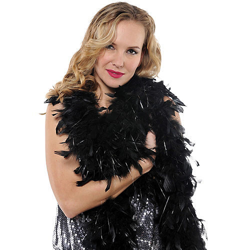 Black with Silver Tinsel Feather Boa 72in Image #2