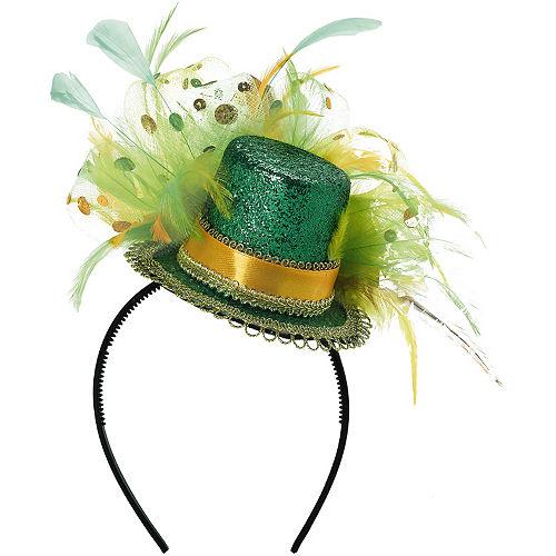 Fancy Green Glitter Mini Top Hat Image #1