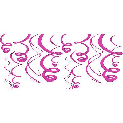 Bright Pink Swirl Decorations 12ct Image #1