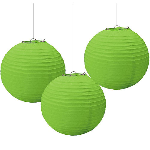 Kiwi Green Paper Lanterns 3ct Image #1